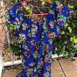 💙 Beautiful Blue Floral Print Dress
